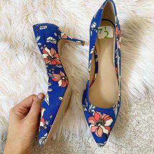Nine West blue floral heels